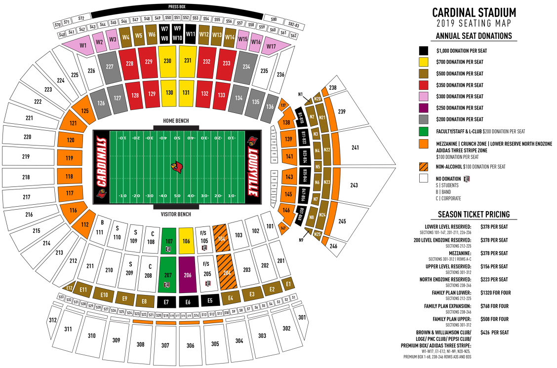 New Cardinal Stadium Section Numbering